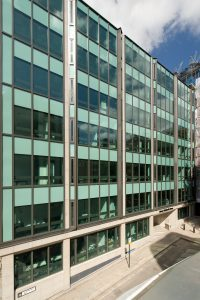 Seven Storeys of powder coated curtain walling