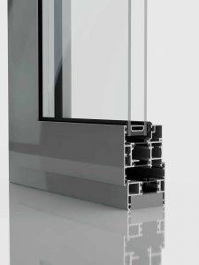 Section through aluminium window.